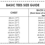 Basic Tees size guide