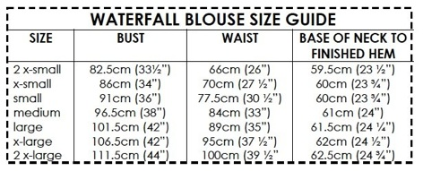 e2aa56fe92809 ... Waterfall Blouse size guide ...